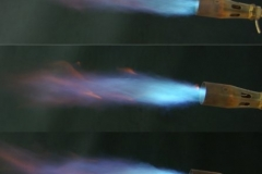 Flame comparison of 32mm nozzle before and after modification
