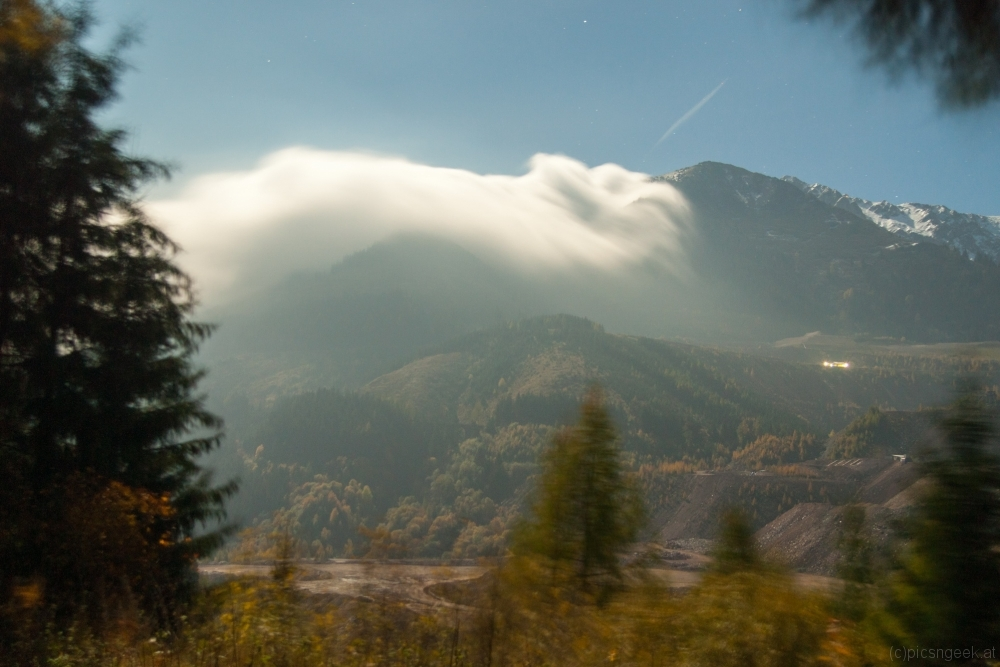 Clouds creeping over the ridge to Erzberg