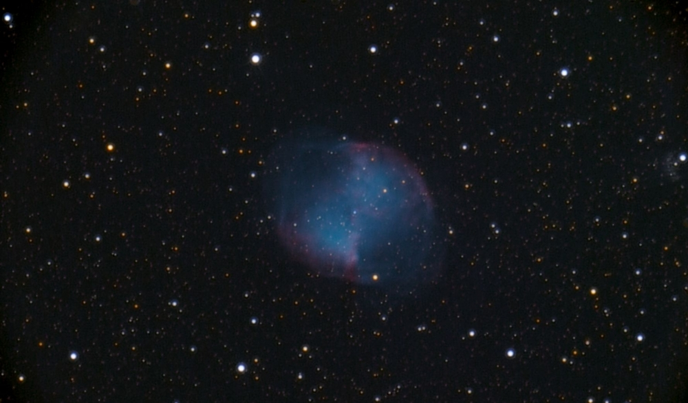 M27 2018-11-10 32x120s ISO3200 Sternwarte Steinberg - regim SigmaCombinedFiles color calibrated - processed in StarTools 3a