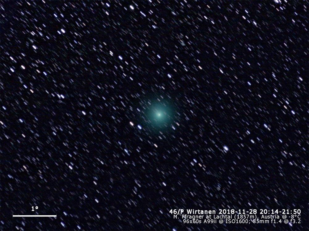 2018-11-28 Lachtal - Komet 46P Wirtanen - A99ii + 85mm f3,2 @ ISO1600 RegOnComet SigmaCombinedFiles levels gradient crop usm text