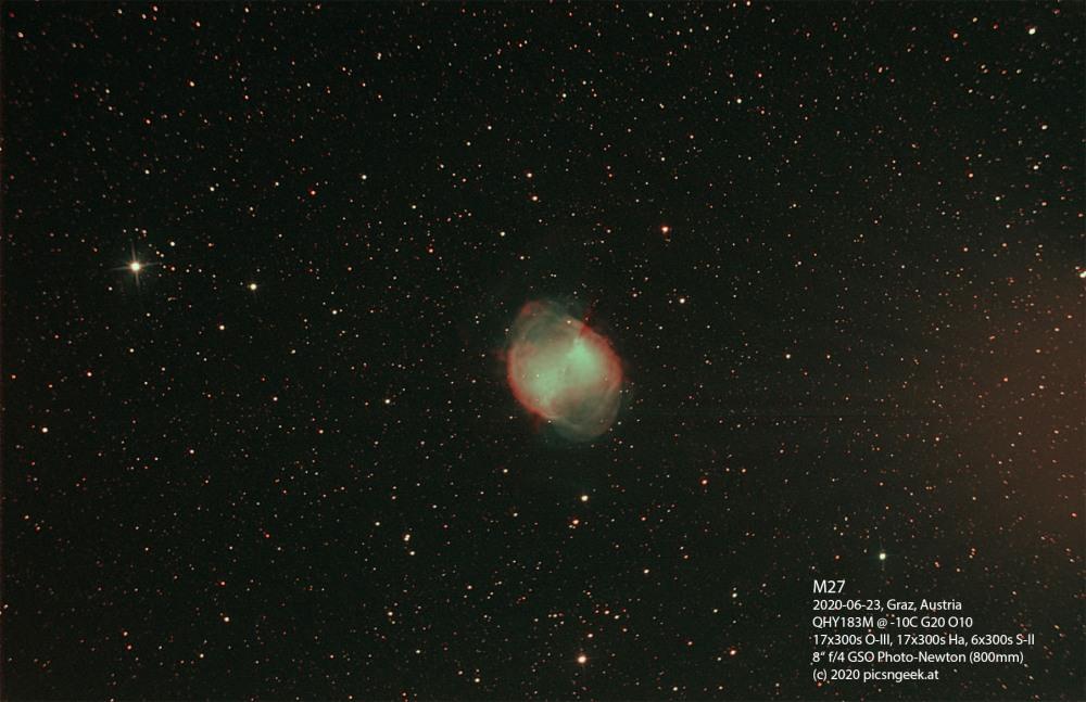 M27-2020-06-23-800mm-f4-QHY183M-17x300s-Ha-17x300s-OIII-6x300s-SII-G20-O0-10C-levels-label